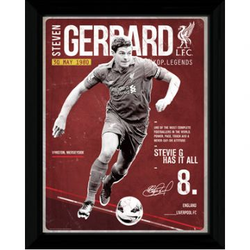 Liverpool FC Framed Retro Style Steven Gerrard Picture